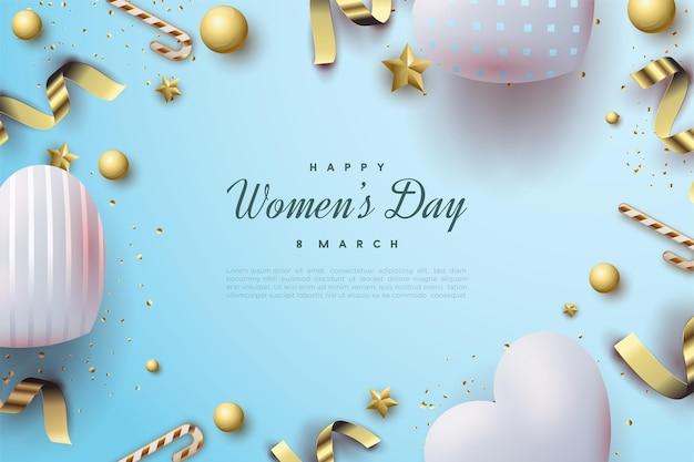 Giornata della donna felice con bellissimi palloncini d'amore blu brillante.