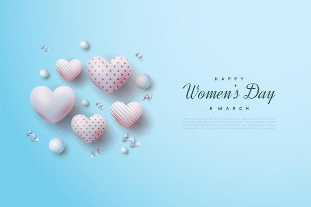 Felice giornata della donna con bella illustrazione di palloncini amore.
