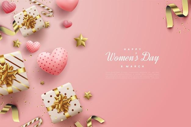 Buona festa della donna con scatole regalo e palloncini d'amore.