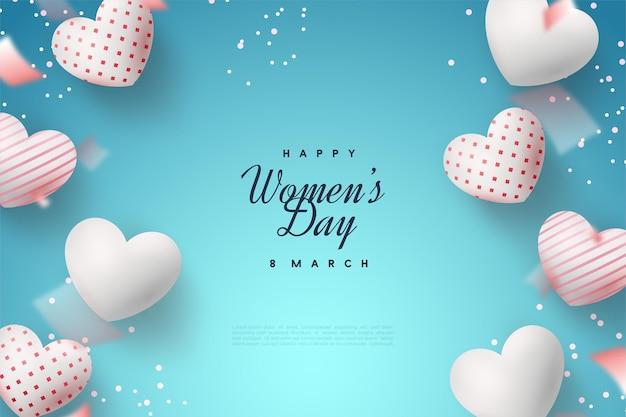 Giornata della donna felice con palloncini d'amore sull'azzurro