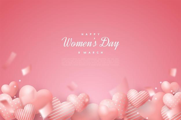 Giornata della donna felice con palloncini d'amore e nastri bokeh.