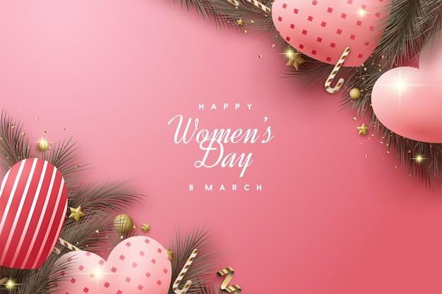 Giornata della donna felice con palloncini d'amore e foglie di pino.