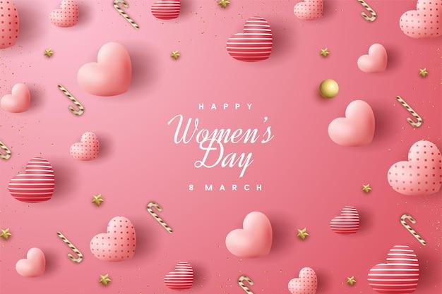 Giornata della donna felice con palloncini d'amore sparsi.