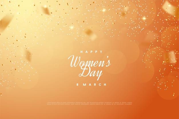 Giornata della donna felice con bokeh arancione