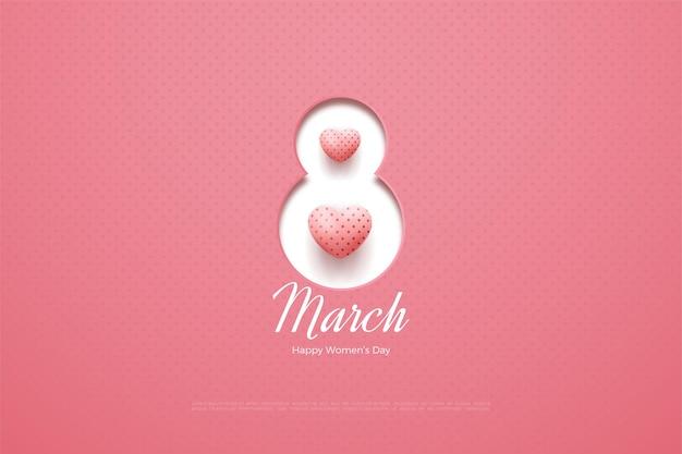Giornata della donna felice con numeri papercut e palloncini d'amore 3d.