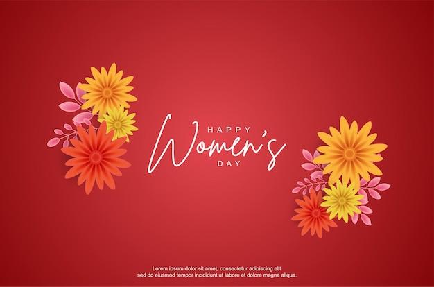 Giornata della donna felice con fiore realistico