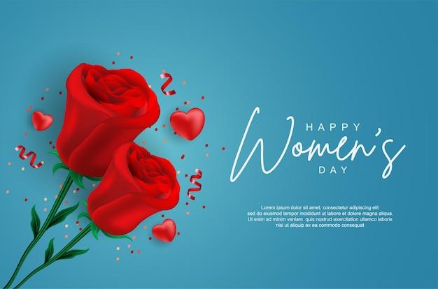 Giornata della donna felice con rosa realistica
