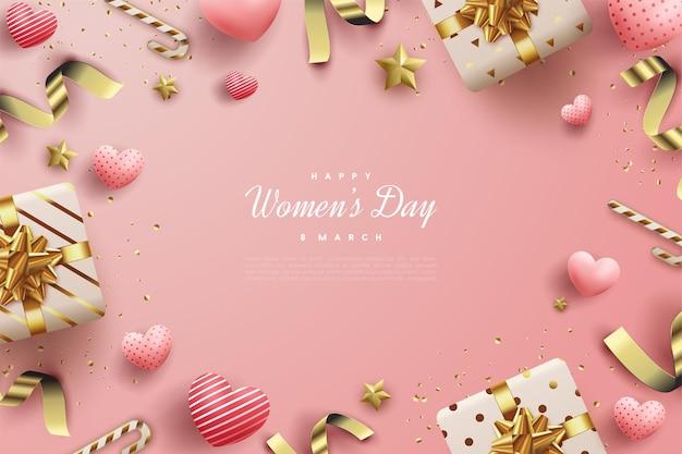Buona giornata della donna con sfumature di rosa.