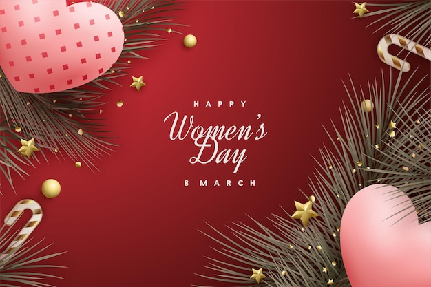 Giornata della donna felice con due cuori di amore 3d