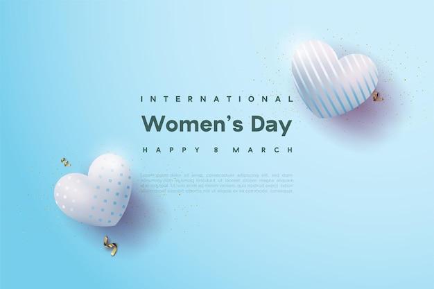 Giornata della donna felice con due palloncini d'amore blu brillante.