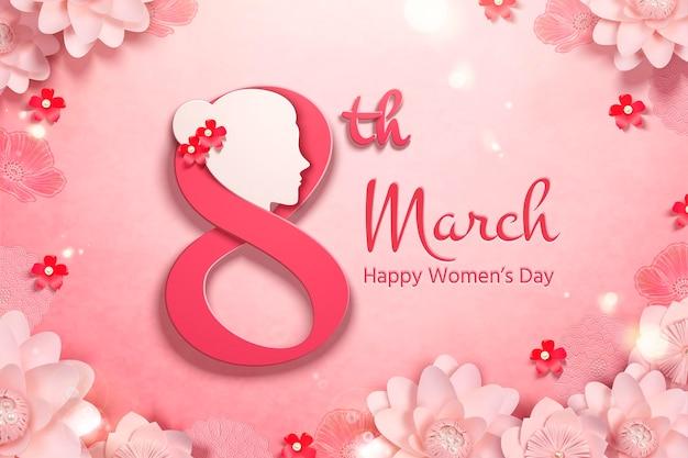 Giornata della donna felice con cornice di fiori di carta rosa e testa di donna
