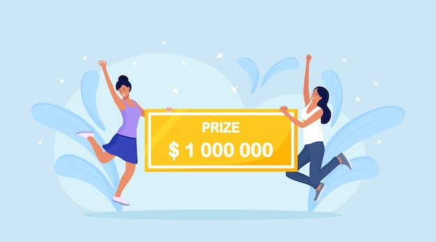 Donne felici che vincono un premio in denaro. vincitori in possesso di assegno bancario per un milione di dollari. la ragazza fortunata vince il jackpot alla lotteria. fortuna, concetto di fortuna