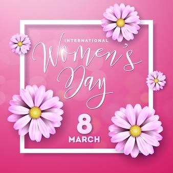 Disegno floreale della cartolina d'auguri del giorno delle donne felici