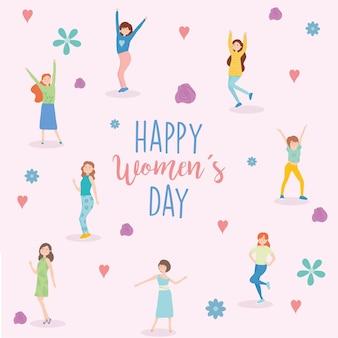 I fiori e i cuori dei cartoni animati delle ragazze di giorno delle donne felici progettano dell'illustrazione di tema di empowerment della donna
