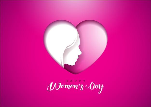 Progettazione della cartolina d'auguri del giorno delle donne felici con la siluetta del fronte della donna nella forma del cuore.
