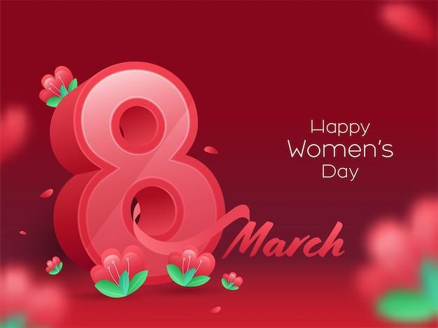 Biglietto di auguri di felice festa della donna con 8 marzo e fiori sul rosso