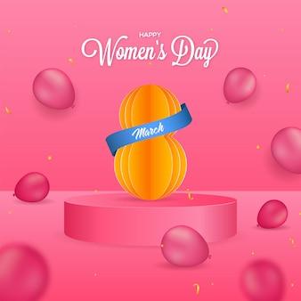 Cartolina d'auguri di felice festa della donna con carta tagliata numero 8 sul podio 3d con palloncini lucidi decorati in rosa