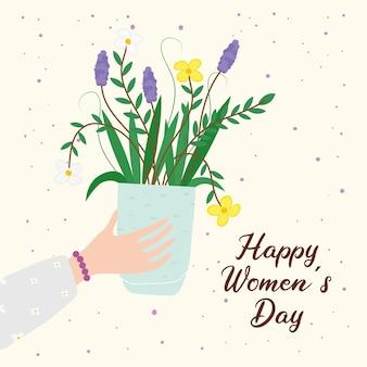 Scheda dell'iscrizione di giorno delle donne felici con l'illustrazione della pianta della casa dei fiori di sollevamento della mano