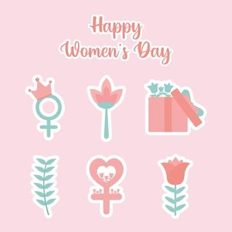 Iscrizione del giorno delle donne felici e set di icone del giorno delle donne bellissime