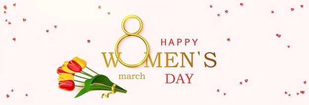 Happy womens day con bouquet di tulipani, cosparsi di coriandoli.