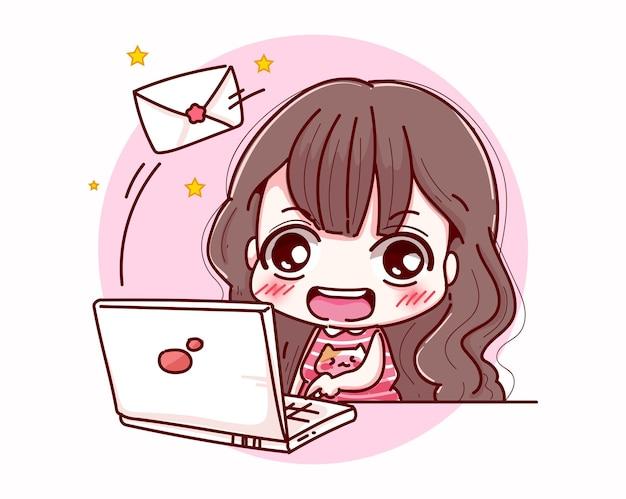 Felice ragazza lavoratrice invia e-mail e character design