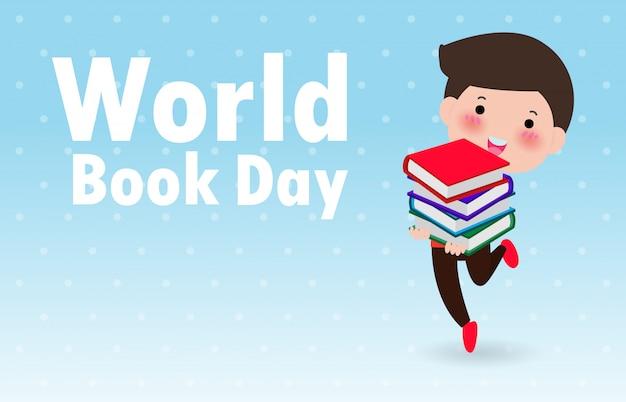 Giornata mondiale del libro, bambino e libri felici, illustrazione di istruzione