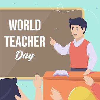Buona giornata mondiale degli insegnanti. sorridendo un insegnante