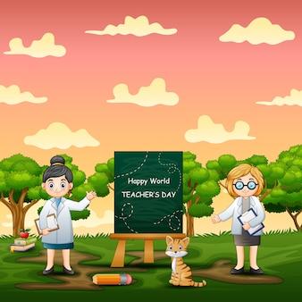 Felice giornata mondiale degli insegnanti con due donne
