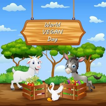 Fondo felice di concetto di giornata mondiale vegana