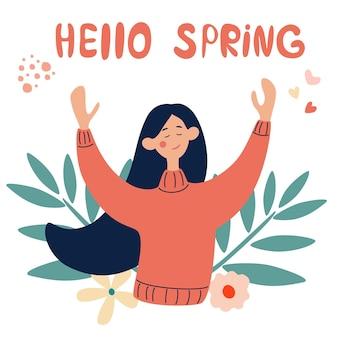 La ragazza felice si rallegra in primavera. ciao concetto di primavera nel vettore. illustrazione vettoriale in uno stile piatto.