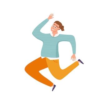 Felice giovane ragazzo che salta in diverse pose illustrazione vettoriale. concetto del fumetto dell'uomo che ride allegro con le mani alzate. design piatto stile di vita da ragazzo positivo per feste, sport, danza, felicità, successo