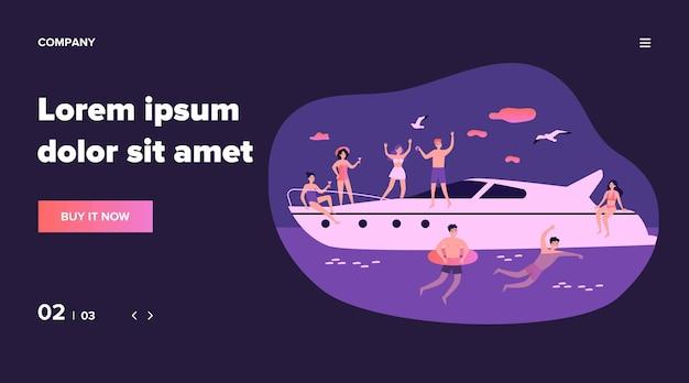 Giovani felici che godono di crociera in yacht. uomini e donne che navigano, godono della festa su una barca di lusso, nuotano nel mare. illustrazione per vacanze, viaggi, concetto estivo