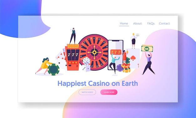 I giovani felici giocano alla pagina di destinazione della roulette.