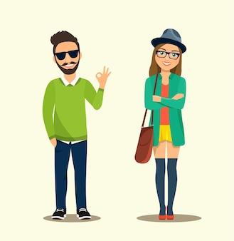 Felice giovane donna e uomo hipster.