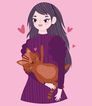 Felice giovane donna con gatto marrone animale da compagnia cartoon illustrazione