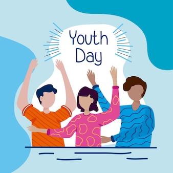 Banner di felice giornata della gioventù con ragazza e ragazzi