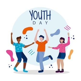 Poster di felice giornata della gioventù con cartoni animati per bambini