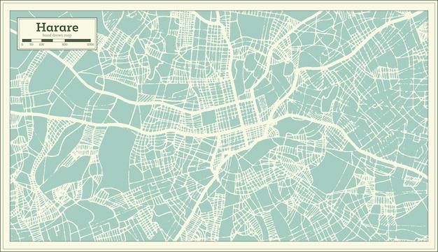 Mappa della città di harare zimbabwe in stile retrò. mappa di contorno. illustrazione di vettore.