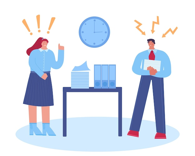 Molestie sul posto di lavoro. capo femminile che grida al dipendente. .