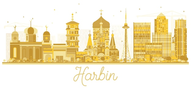 Siluetta dorata dell'orizzonte della città di harbin cina. illustrazione vettoriale. semplice concetto piatto per presentazione turistica, banner, cartellone o sito web. concetto di viaggio d'affari. paesaggio urbano di harbin con punti di riferimento.