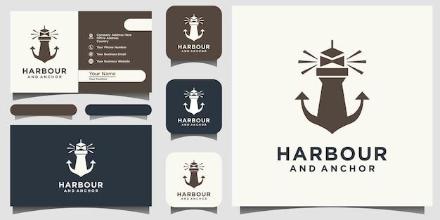 Vettore di progettazione del logo del porto e dell'ancora