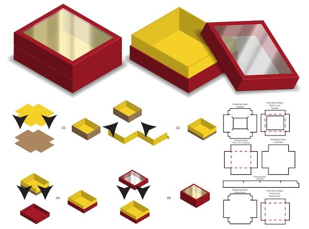 Scatola rigida di carta rigida 3d mockup con dieline