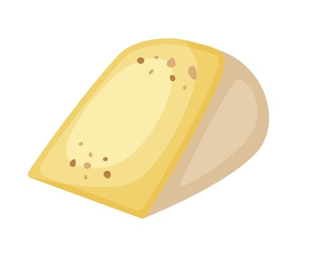Pezzo di formaggio duro prodotto lattiero-caseario isolato su sfondo bianco