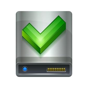 Disco rigido e icona ok dispositivo tecnologico