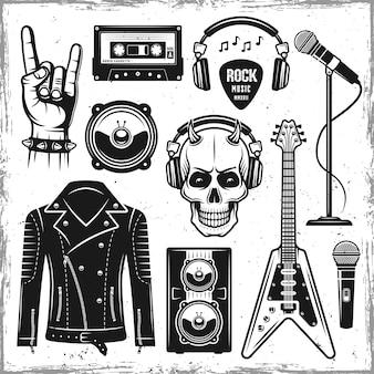 Set di attributi di musica hard rock e metal