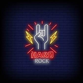Testo di stile di insegne al neon hard rock