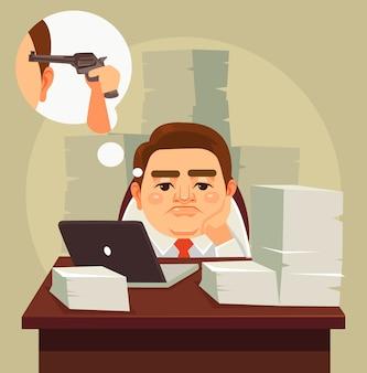 Carattere dell'uomo di lavoratore di ufficio pigro stanco lavoro duro
