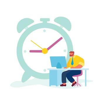 Tempo di lavoro duro dell'uomo d'affari o concetto di processo di lavoro.