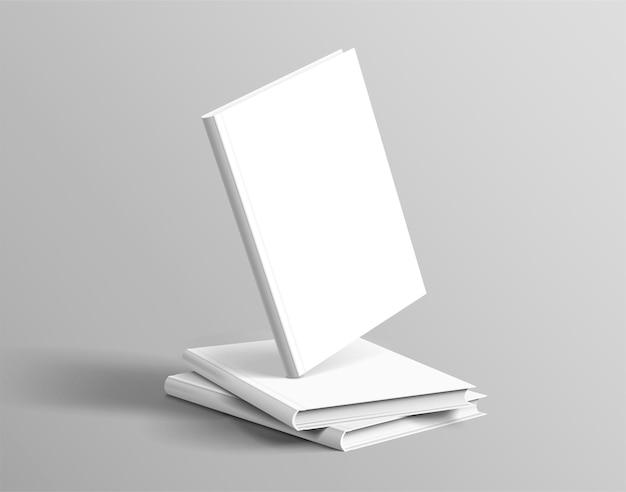 Libri con copertina rigida impostati galleggianti su sfondo grigio in 3d'illustrazione