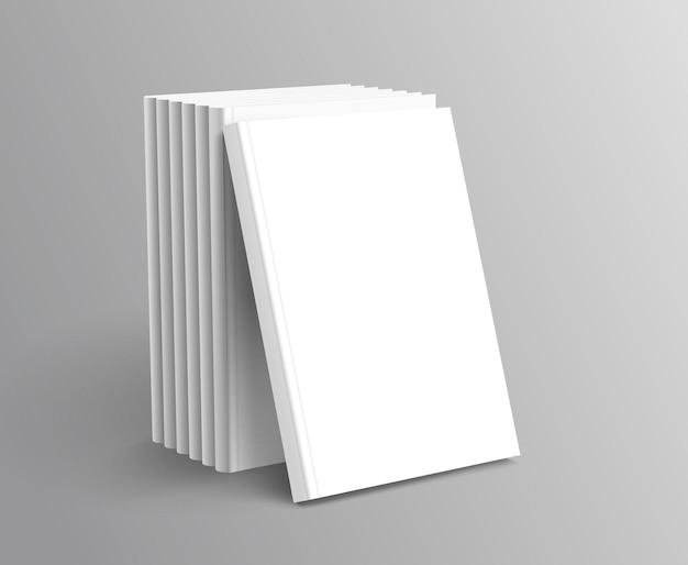 Libri con copertina rigida messi in piedi su sfondo grigio in 3d'illustrazione